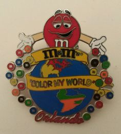 M&M COLOR MY WORLD ORLANDO PIN (DOUBLE PIN CLUTCH BACK) 2005 Featuring Red in Collectibles, Pinbacks, Bobbles, Lunchboxes, Pinbacks | eBay