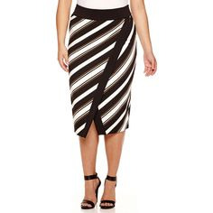 Worthington Scuba Tipped Envelope Pencil Skirt- Plus ($30) ❤ liked on Polyvore featuring plus size fashion, plus size clothing, plus size skirts, pencil skirt, stripe pencil skirt, striped skirt, knee length pencil skirt and worthington