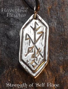 Items similar to Strength of Self Rune - Pewter Pendant - Celtic, Norse Nordic Jewelry, Fortitude and Wisdom Necklace on Etsy Celtic Runes, Celtic Symbols, Rune Symbols, Magic Symbols, Viking Tattoos, Viking Jewelry, Symbolic Tattoos, Book Of Shadows, Tattoos For Women
