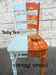 Just clean it and paint it. No priming, no sanding! Vintage High Chairs, Diy Arts And Crafts, Chalk Paint, Blue Grey, Color Pop, Repurposed, Dining Chairs, Shabby, Stains
