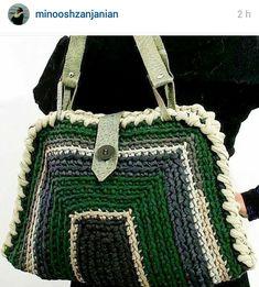 Yarn Projects, Crochet Projects, Love Crochet, Knit Crochet, Knit Basket, Crochet World, Unique Bags, Crochet Purses, Green Bag
