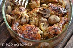 Kurczak pieczony w musztardzie. Kurczak pieczony z pieczarkami - niebo na talerzu Poultry, Potato Salad, Shrimp, Main Dishes, Chicken Recipes, Food And Drink, Cooking Recipes, Nutrition, Baking