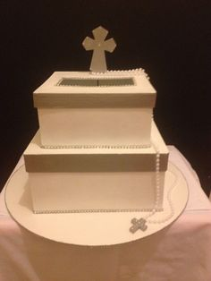 First Holy Communion Card Box- Silver and White on Etsy, $45.00