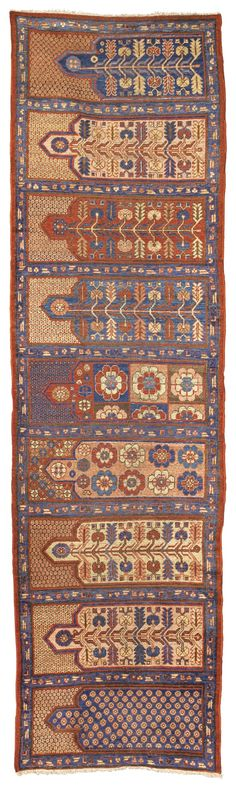 East Turkestan, Khotan saph, early 19th century prayer rug for nine people. Mosque use?