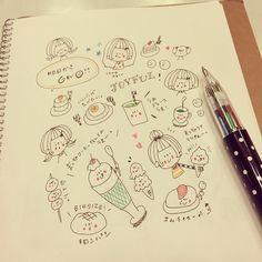 ちょっとしたらくがき。 #イラスト #女の子 #カラフル #絵日記 #落書き #ラクガキ Bujo Doodles, Diy Back To School, Class Notes, Travelers Notebook, Hobonichi, Diy And Crafts, Bullet Journal, Hand Painted, Drawings
