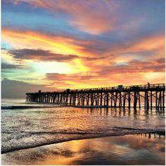 Golden sunrise over Flagler Beach Pier