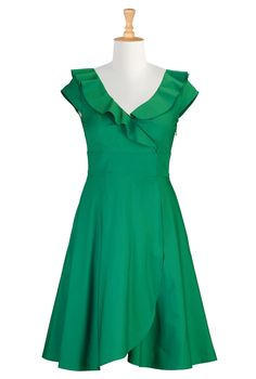Ruffle cotton poplin dress
