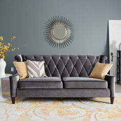 Armen Living Barrister Gray Velvet Sofa - Sofas at Hayneedle. I love this sofa! And the wall color. Living Room Paint, Living Room Grey, Living Room Sofa, Living Room Furniture, Living Room Decor, Grey Velvet Sofa, Blue Gray Bedroom, Grey Couches, Dark Furniture