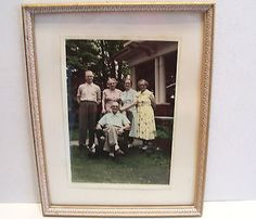 Vintage Picture Frame with Colored Photograph of Family 7x9 In Carved Wood 1950s