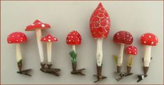 antique red and white mushroom Christmas ornaments Antique Christmas Ornaments, Christmas Past, Vintage Ornaments, Retro Christmas, Vintage Holiday, German Christmas, Holiday Fun, Christmas Holidays, Christmas Crafts