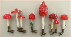 Konvolut Pilze auf Clip, alter Weihnachtsschmuck
