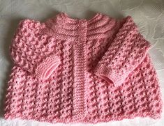 New Hand knitted Baby Girls Candy Pink  Matinee cardigan fits 0-3 months