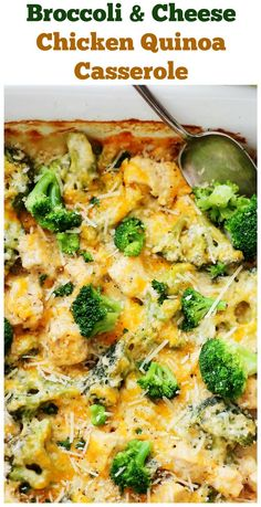 Broccoli and Cheese Chicken Quinoa Casserole – Light and creamy casserole filled with broccoli, chicken, quinoa and cheese! This will rock your taste buds!