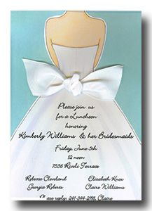 Picture Perfect PICP 2630IWR and BRIDAL LUNCHEON INVITATIONS, BRIDAL GOWN BACK BOW, BLUE, PICTURE PERFECT