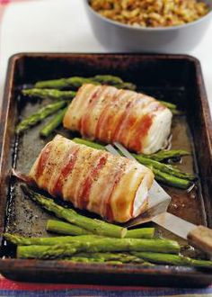 Roasted Cod Loin Wrapped In Pancetta Recipe From Clever One Pot Cookbook - Fish Recipes - Fish Recipes Seafood Menu, Seafood Dishes, Seafood Recipes, Cooking Recipes, Healthy Recipes, One Pot Recipes, Salmon Recipes, Baked Fish, Baked Salmon