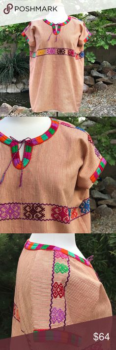 "Mexican Handwoven Huipil - Bohemian style top Mexican huipil hand woven with traditional  Tzotzil embroidery of Pantelho Chiapas.   The initial fabric is handwoven on a weaving loom, and meticulously embroiderer by hand creating this beautiful and unique piece.  Sizing: L Please check dimensions to insure a proper fit.  - Bust (all the way around): 48"" - Bottom Hem (all the way around): 48"" - Length (shoulder to bottom hem): 28""   📌BUNDLE AND SAVE Tops Blouses"