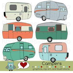 Vintage Campers Digital Clip Art Retro Camp By RhodaDesignStudio 595