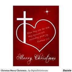Christian Merry Christmas red customizable Postcard