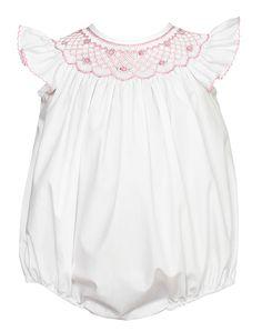 0c0f9ac56c Petit Bebe Infant Girls White Poplin Bubble - Angel Wing Sleeves - Smocked  in Pink