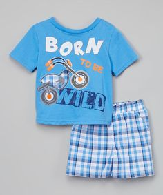 Look what I found on #zulily! Marina 'Wild' Graphic Tee & Plaid Shorts - Infant & Toddler #zulilyfinds