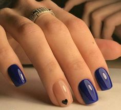 14th February nails, Dark blue nails, Heart nail designs, Manicure on the day of lovers, Nails ideas 2018, Nails trends 2018, Party nails ideas, Plain nails