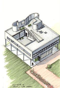 20 Beautiful Axonometric Drawings of Iconic Buildings,Villa Savoye / Le Corbusier / 1929. Image Courtesy of Diego Inzunza - Estudio Rosamente
