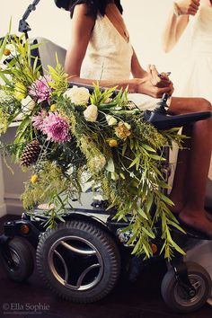 Bay Area sassy and colorful wedding inspiration featuring floral wheelchair by Ella Sophie Photography and Ash + Oak Floral.