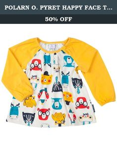 POLARN O. PYRET HAPPY FACE TUNIC (BABY) - 6-9 months/Golden Rod. A-line tunic top with a woodland happy animal face print in vibrant colors. The top has solid colored coordinating sleeves with gently elasticized cuffs, a single-button keyhole opening and gathered neckline. 95% cotton, 5% elastane.