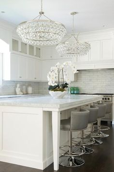 Kitchen Island with Robert Abbey Bling Chandeliers, Transitional, Kitchen – Kitchen Chandelier İdeas. Home Kitchens, Kitchen Remodel, Kitchen Design, Kitchen Decor, Kitchen Remodel Design, Transitional Kitchen, Stools For Kitchen Island, Kitchen Stools, Kitchen New York