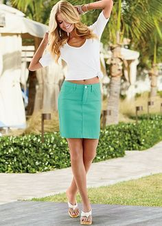 Brighten hearts in a skirt that blooms all year long. Venus color mini jean skirt with Venus long and lean tee.