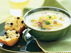 This easy corn chowder recipe uses frozen whole-kernel corn and gets extra heartiness from low-fat chicken sausage. You'll love cozying up to a Frozen Corn Recipes, Corn Pudding Recipes, Low Salt Recipes, Low Sodium Recipes, Low Calorie Recipes, Chowder Recipes, Soup Recipes, Diet Recipes, Healthy Recipes