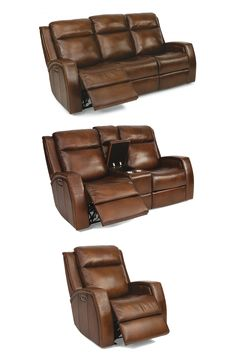 Find ultimate comfort with this statement piece. Inspired by cowboy boot designs, Mustang's intricately stitched arm design adds a unique, distinctive touch to this style. Large stitching in a contrasting leather throughout the piece adds yet another layer of texture and visual interest. Divided back cushions, subtle bucket seats, and fully padded footrests provide blissful sink-in comfort for long movie nights with friends and family. #shopgahs #recliningsofa #leather #recliningloveseat