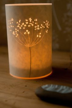 Cow Parsley candle cover (with a glass for tea lights) by Hannah Nunn. Hannahnunn on Etsy.