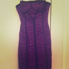 BCBG Purple Strapless Dress BCBG only worn once. Perfect for a formal event, sorority formal or homecoming. Can fit a 00 to a 2 BCBGMaxAzria Dresses Strapless