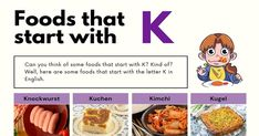 Foods That Start With K Roast Beef And Horseradish, Sliced Roast Beef, Egg Bake Casserole, German Cake, Visual Dictionary, Collard Greens, Baked Eggs, Food Lists, Kimchi