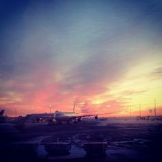 Sunset at Helsinki Airport, with a Finnair A340. Photo by @Stippidoo