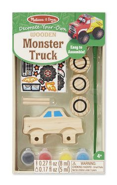 Get ready to rev up the excitement with this easy-to-assemble monster truck kit. Includes wooden truck, wheels, axles, paint, paintbrush, glue, and truck-themed stickers. An ideal party activity or fa