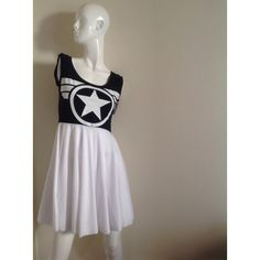 Captain America Blue and White Babydoll Dress ($49) ❤ liked on Polyvore