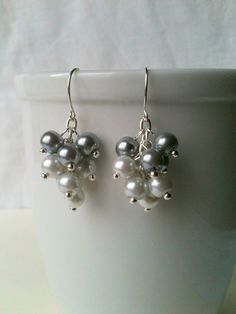 White and Silver Gray Ombre Cluster Glass Pearl Bead Dangle Earrings