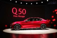 Infiniti unveils the Q50 Eau Rouge concept vehicle to the media during the 2014 North American International Auto Show.