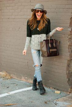 Katie Cassidy TKC Scoop Sweater - Rag & Bone Hat - Skechers Boots - Rag & Bone Jeans - Celine Handbag - Panama Jack Sunglasses
