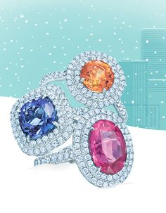 Color their world with Tiffany Soleste® rings in platinum with round brilliant diamonds and spessartite, pink tourmaline and tanzanite.
