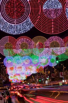 Christmas in Madrid SPAIN- Gittering circles of LEDs designed by Italian architect Teresa Sapey. Holiday Lights, Christmas Lights, Christmas Makes, Christmas Time, Christmas Stuff, Light Decorations, Christmas Decorations, Italian Pattern, Jingle All The Way