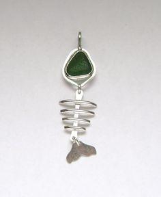 Sea Glass Jewelry - Sterling Green English Sea Glass Fishbone Pendant. $75.00, via Etsy.