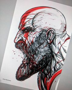 Kratos - digital stuff Using Clipart program , in cintiq 20 inch wide Tattoo Sketches, Drawing Sketches, Tattoo Drawings, Tatuaje Trash Polka, Stylo Art, Spartan Tattoo, Tatoo Art, Bd Art, Kratos God Of War