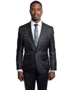 This slim fit paisley blazer features 2 buttons to close, side vents, a ticket pocket, a slim notch lapel. It's sure to be a stunner at any party you are attending. #BlackJacket #WeddingJacket #PromTux #WeddingTux #Tux #Wedding #Prom #DinnerJacket #Jacket Wedding Tux, Wedding Jacket, Mens Dinner Jacket, Prom Tux, Slim Man, Ticket, Paisley, Suit Jacket, Buttons