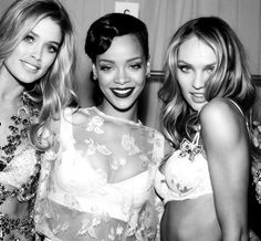 Doutzen Kroes, Rihanna, and Candice Swanepoel backstage at the 2012 Victoria's Secret Fashion Show.