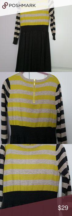 Eliza J Dress, Large New worn 100% Acrylic  Size large Colors: Gray with yellow/beige stripe Eliza J Dresses Midi