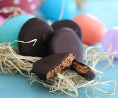 Peanut Butter Eggs Low Carb and Gluten Free - 3g. net carbs per egg -  (Recipe calls for peanut flour, can sub PB2, see this link about PB2 (or can pick it up health foods stores - great to have in pantry!) http://www.netrition.com/bell_plantation_pb2.html
