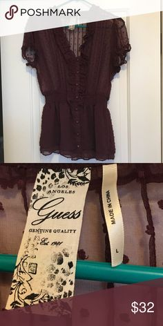 Guess burgundy blouse Guess burgundy sheer blouse Guess Tops Blouses